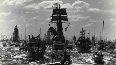 The First Fleet Re-enactment ships head for Farm Cove.