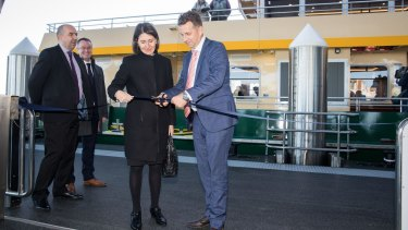 Premier Gladys Berejiklian and Transport Minister Andrew Constance at the opening of the Barangaroo ferry wharves.