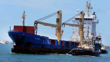 The BBC Shanghai arrives at Port Kembla Harbour.