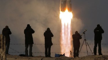 The Soyuz-FG rocket carrying a new crew to the International Space Station, ISS, blasts off at the Baikonur cosmodrome in Kazakhstan.