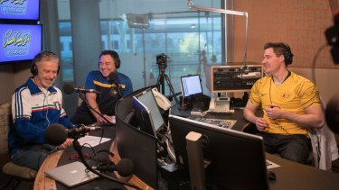 Santo Cilauro (left), Sam Pang and Ed Kavalee put together a soccer podcast.