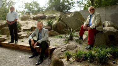 (L-R) Andrew Gay, Andrew Saniga and Paul Thompson in the recently restored Ellis Stones garden.