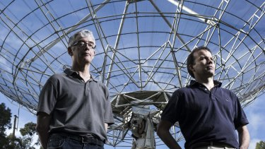 Head of Science Operations CSIRO Dr Phil Edwards (left) and Long Baseline Array Lead Scientist Chris Phillips are part of a team hunting neutrinos.