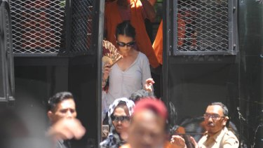 Sara Connor arriving at court in Denpasar on Monday afternoon.