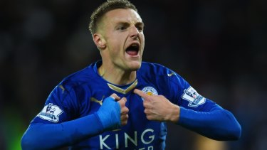 Star man: Jamie Vardy's goals have fired Leicester to the title.