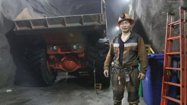 A worker at Rio Tinto's Oyu Tolgoi mine, one of the world's richest copper deposits.