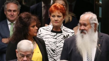 Pauline Hanson enters the House of Representatives with fellow senators last month.