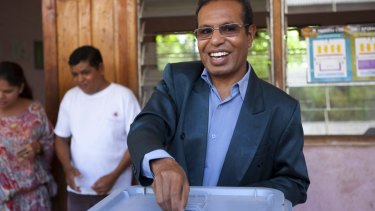 Taur Matan Ruak casts his vote in presidential elections in Dili, East Timor, in 2012.