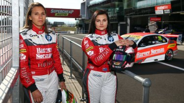 Simona De Silvestro and Renee Gracie, drivers of #200 Harvey Norman Supergirls Falcon, ahead of the Bathurst 1000.