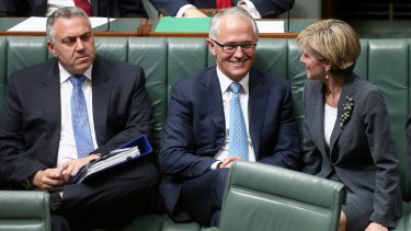 Former treasurer, Joe Hockey, Prime Minister Malcolm Turnbull and Foreign Affairs Minister Julie Bishop in Parliament House in Canberra.
