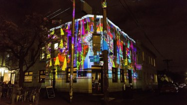 The work of Kate Geck can be seen on the Builders Arms Hotel for the Gertrude Street Projection Festival.