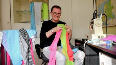 """Bollard bandit"" David Gray gets crafty with scraps of fabric."
