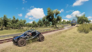 Just racing a train in an aluminum dune buggy. As you do.