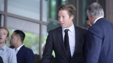 GWS player Toby Greene arrives at Melbourne Magistrates Court.