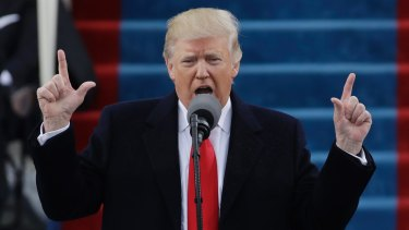 President Donald Trump delivering his inauguration speech.