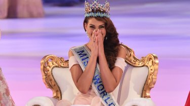 Winner: Rolene Strauss celebrates after being crowned Miss World.