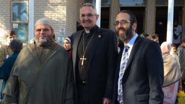 Religious leaders reject negativity directed at Muslims: Sheikh Yahya Safi, the Reverend Andrew Dutney and Rabbi Zalman Kastel at the Lakemba Mosque.