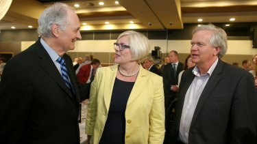 Actor and science advocate Alan Alda speaks with Assistant Minister for Science Karen Andrews and Nobel Laureate Brian Schmidt after his address to the National Press Club of Australia.