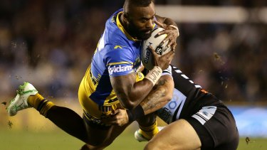 Semi Radradra in action for the Eels against the Sharks on Saturday.