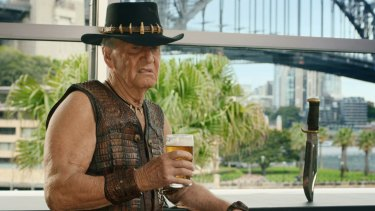 Paul Hogan starring in a Crocodile Dundee inspired TV commercial that aired during the 2018 Super Bowl.