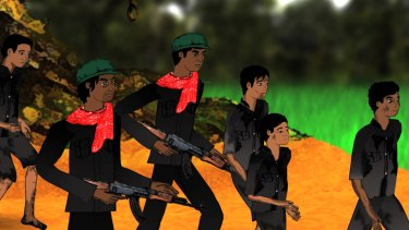 "An animated scene in the film ""Camp 32""."