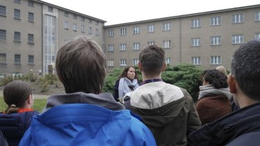 Tour guide Franziska Kelch at the old Stasi headquarters in East Berlin.