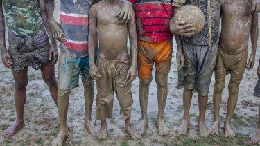 Rohingya refugee children outside Leda refugee camp in Bangladesh.