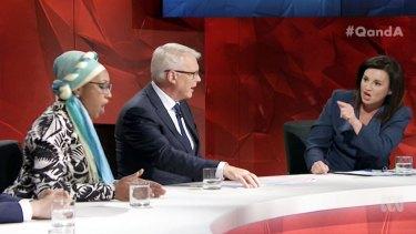 Panellist Yassmin Abdel-Magied, host Tony Jones and Tasmanian senator Jacqui Lambie on <i>Q&A</i> last week.