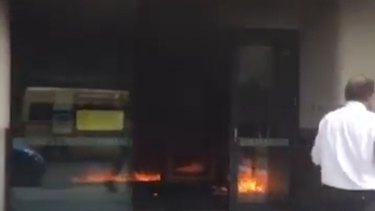 Fire inside the Springvale Commonwealth Bank.