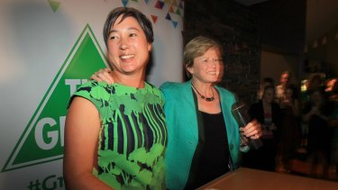 Impact: Greens candidate for Newtown Jenny Leong is congratulated by Federal Greens leader, Senator Christine Milne on election night.