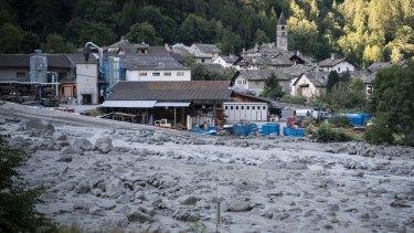 View of the village Bondo in Graubuenden in South Switzerland.