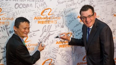 Alibaba founder Jack Ma with Premier of Victoria Daniel Andrews at the launch of Alibaba's Australian and New Zealand headquarters in February.
