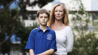 Janine Barrett with her son Fred outside Ultimo Public School.