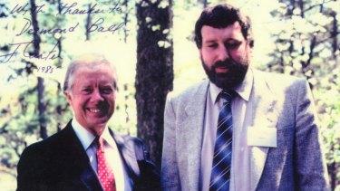 Desmond Ball with US President Jimmy Carter in Atlanta, Georgia, 1985.
