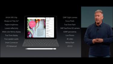 Apple's Phil Schiller talks up the new, smaller iPad Pro.