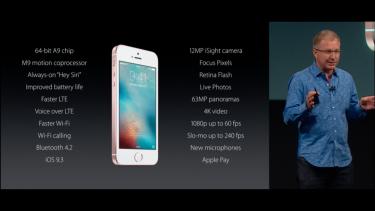 Apple executive Greg Joswiak introduces the 4-inch iPhone SE.