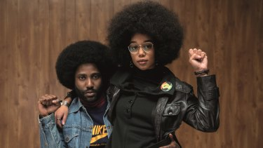 John David Washington and Laura Harrier in <I>BlacKkKlansman<I>.