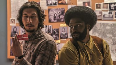 Adam Driver and John David Washington in Spike Lee's <I>BlacKkKlansman<I>.