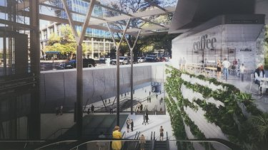 An artists impressions of Parkville Station.
