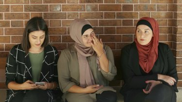 (From left to right)  Nour, Ola and Armani Haydar outside the NSW Supreme Court during the trial of their father Haydar Haydar.