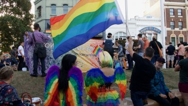 "Celebrations for the ""yes"" vote at Taylor Square, which for decades welcomed Sydney's colourful counterculture warriors."