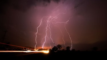 Lightning strikes in Sydney's west.