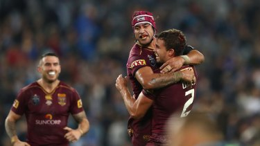 Thurston celebrates after winning Origin game one.