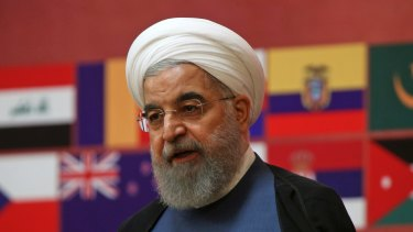 Iranian President Hassan Rouhani speaks at a conference in Tehran, Iran, on Monday, July 3.