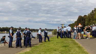Police monitor the Defqon.1 dance party at the Sydney International Regatta Centre.