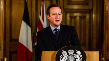 British Prime Minister David Cameron speaks at 10 Downing Street after chairing an emergency Cobra meeting.