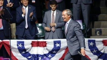 Nigel Farage arrives onstage in Jackson, Mississippi.