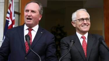 Deputy Prime Minister Barnaby Joyce, pictured with Malcolm Turnbull, says he's not bothered about missing out on a gig as Acting Prime Minister.