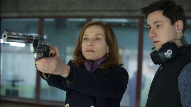 Isabelle Huppert and Arthur Mazet in <i>Elle</i>.