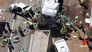 The scene of the fatal truck crash on the Newell Highway near Dubbo